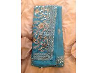 Ladies Beautiful Turquoise Saree with Sequin Patterns New
