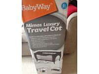 BRAND NEW luxury travel cot and new mattress, still in box, never been used