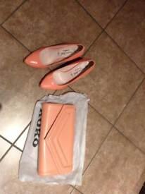 Peach shoes, size 4 (37) & clutch bag