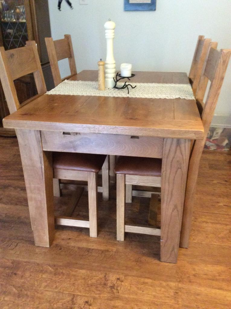 Solid Oak kitchen table and leather chairs | in Dyce ...