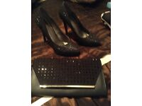 Ladies black sparkly high heels size 5 plus clutch bag