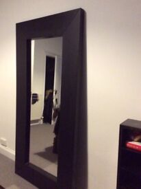 Beautiful Large Dark Wood Framed Mirror