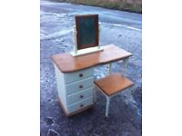 Beautiful pine dressing table ( CREME) with matching mirror and stool
