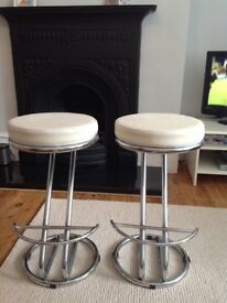 X2 white and chrome bar stools