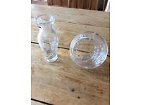Glass/crystal vases with floral design