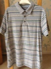 Men's Clothing Grey Stripe Polo Style T-Shirt Size Medium NEW