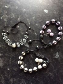 AS NEW Three Matching Sparkling Shamballa Bracelets and Earrings Sets (similar to Thomas Sabo)