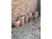 Various weathered garden pots