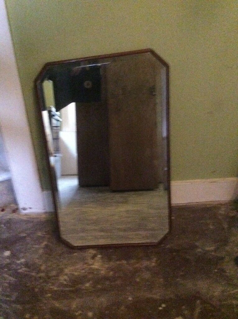 Very nice vintage oak wall mirror in rosewood frame with bevelled edges