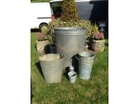 Vintage Galvanised Selection x 4, Garden Dustbin/Planter, Bucket & Pots, £55 🚚 Free Local Delivery