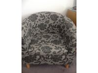 Grey floral tub chair