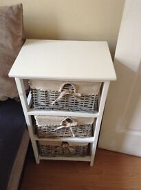 Floor standing drawer wood top 4 wicker drawer £35 each