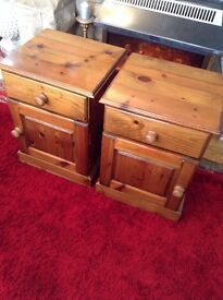 Matching Bedside Cabinets, Solid Pine.