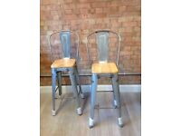 Pair of NEW bar stools with wooden seat back, Xavier Pauchard Tolix-style, gunmetal