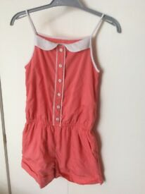 Girls M&S Indigo Short Suit Play Suit Age 7 - 8 Years Coral Colour