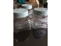 Tea, coffee& sugar glass containers with teal/duck egg blue lids