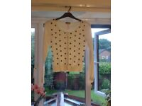 Size 10 white Lipsy Cardigan with black flowers
