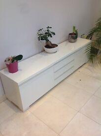 White high gloss ikea Besta TV bench. W180 H48 D41. £75