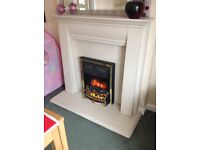 Immaculate electric fire with stone colour surround convector heater