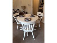 Shabby chic dining table and 3 chairs
