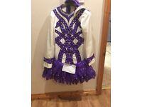 Purple and white Irish dance costume