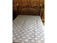 Decorative metal frame double bed with mattress good condition