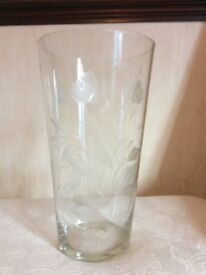 "A Crystal Etched & Engraved Vase - 12"" Tall , Base 4.5"" Top 6.75"" As New."