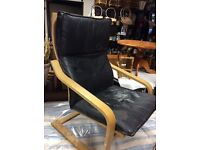 Leather ikea poang chair black