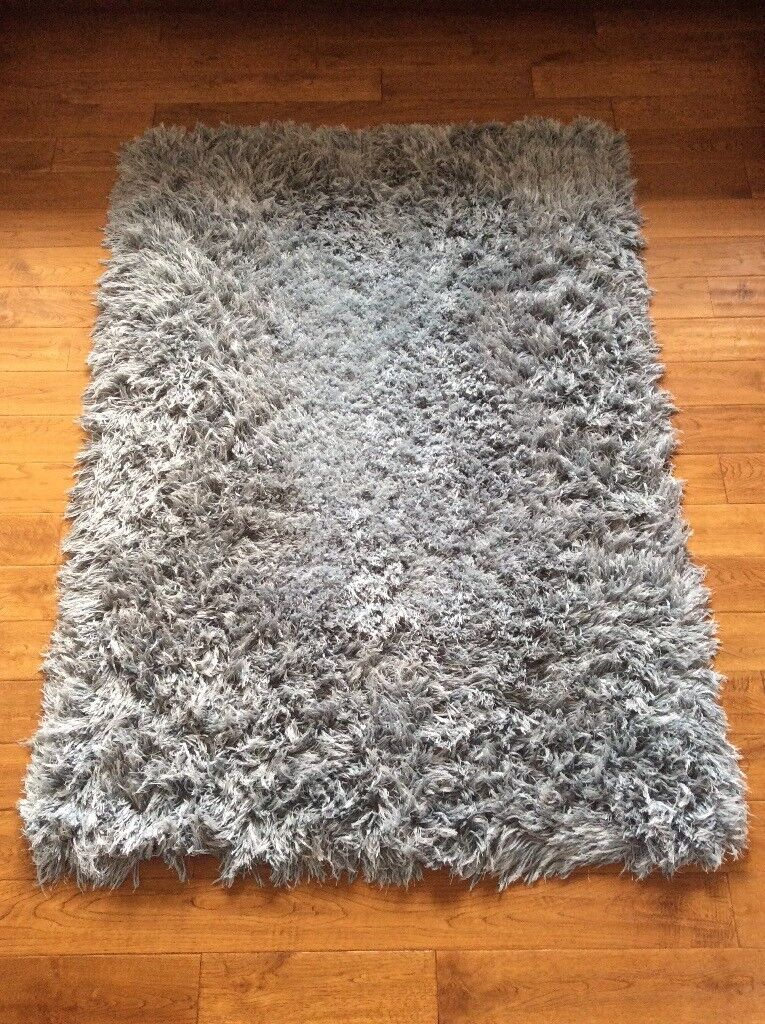 House of Fraser 170x120 duck egg fluffy rug