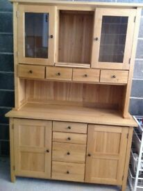 Kitchen Dresser, solid wood, light oak. In two units. Very good condition