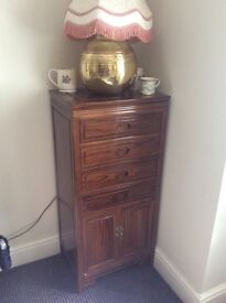 4 drawer, lower cupboard, dark wood hall unit, very good condition, sophisticated look