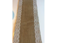 10 Lace and Hessian Wedding Table Runners