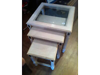 Nest of Tables with glass on top table , feel free to view