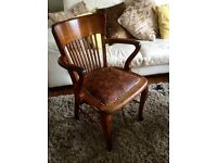 Antique Wood and Leather Captains Chair