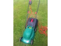 QUALCAST ELECTRIC MOWER WITH BOX & WOODEN SHELVING (NEW)
