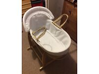Moses basket and stand £10