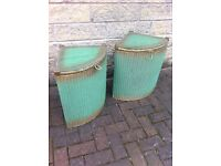 Original Lloyd loom pair of bedside cabinets, over 70 years old