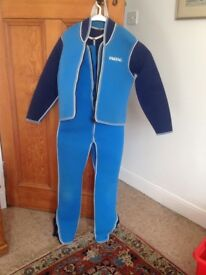 Various sizes of wet suits, life jackets and windsurfer harnesses