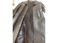 Ladies long black real leather coat