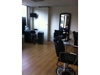 Salon beds, reception couch, barber chair,