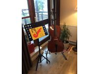 4/4 Full size cello, soft case, cello stand, sheet music stand