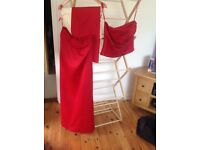 Red two piece, skirt and top prom dress or bridesmaid
