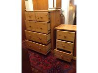 2 solid pine chest of drawers