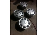 Mercedes-Benz 4 X 8 hole alloy wheels with centre caps