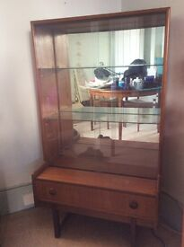 Retro 70's teak display cabinet, lovely condition.