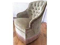 Green velvet winged bedroom chair. Excellent condition. Collection only.