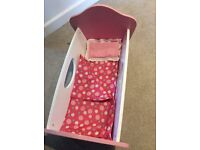 ELC wooden dolls cradle with covers