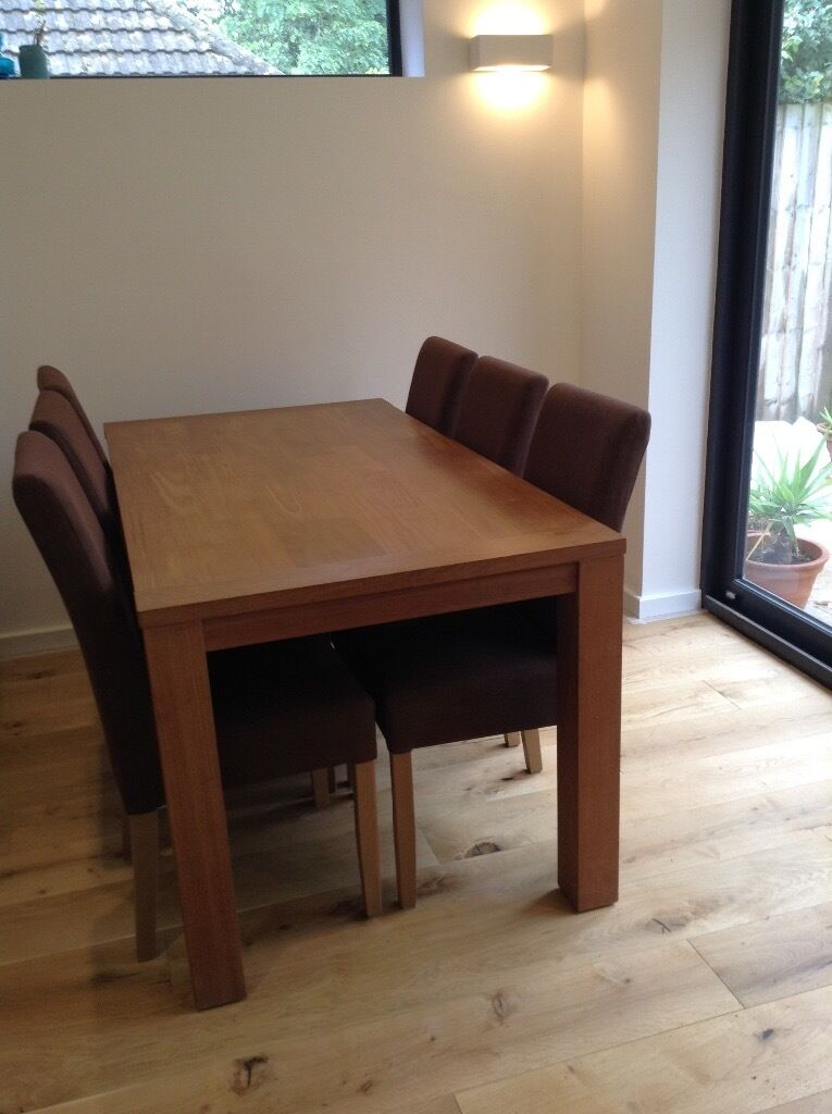 Six fabric dining chairs, good conditionin Exeter, DevonGumtree - Six brown fabric dining chairs. They are in good condition although a couple of them have faded by the sun. They are 40cms wide, 97cm tall and the seat is 40cm deep and 48cm high. The price is for all six and I can deliver locally if required