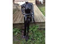 Glossy Black Sitting Headless Female Mannequin Ex Hire Good Condition