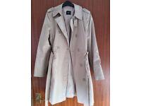VGC Ladies Oasis Smart Long Length Beige Belt Tie Overcoat (Macintosh Mac UK 12)
